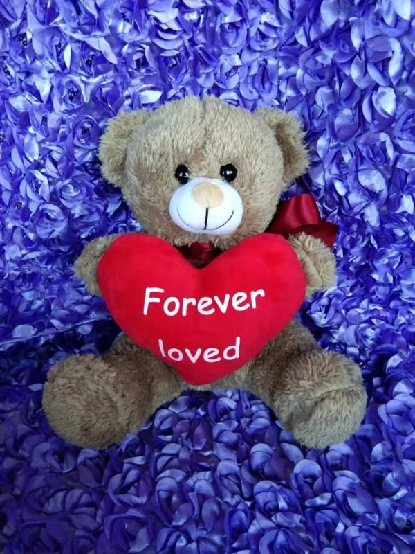 BROWN Big RED Heart Forever Loved