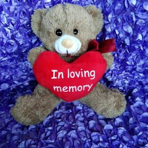 BROWN Big RED Heart In Loving Memory