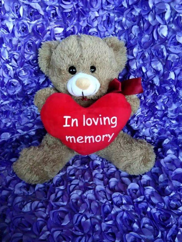 BROWN Big RED Heart In Loving Memory