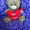 BROWN Big RED Heart Rest In Peace